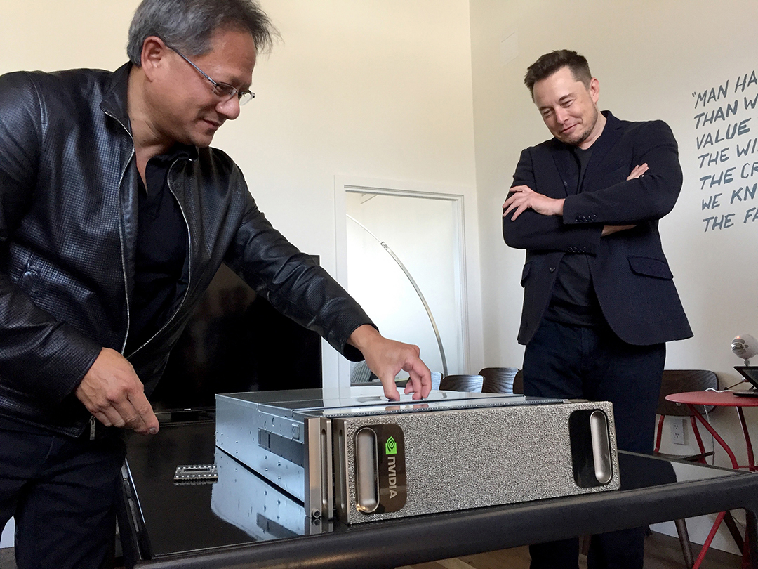 Nvidia's CEO, Jen-Hsun Huang, delivers the first DGX-1 to Elon Musk's OpenAI.