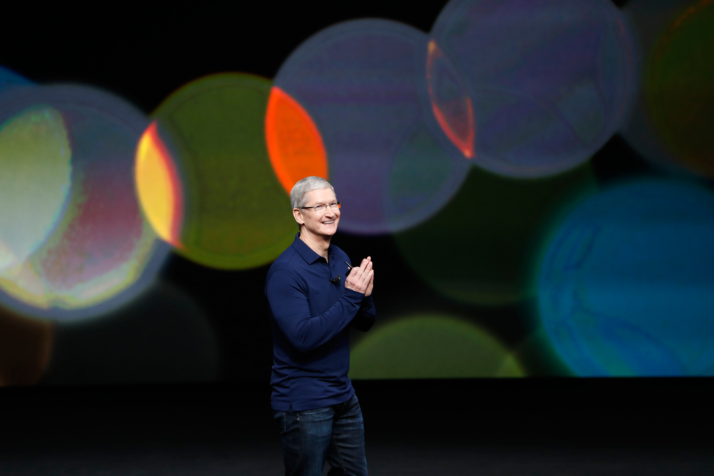 Apple CEO Tim Cook at the launch of the new iPhone in San Francsico, Wednesday.