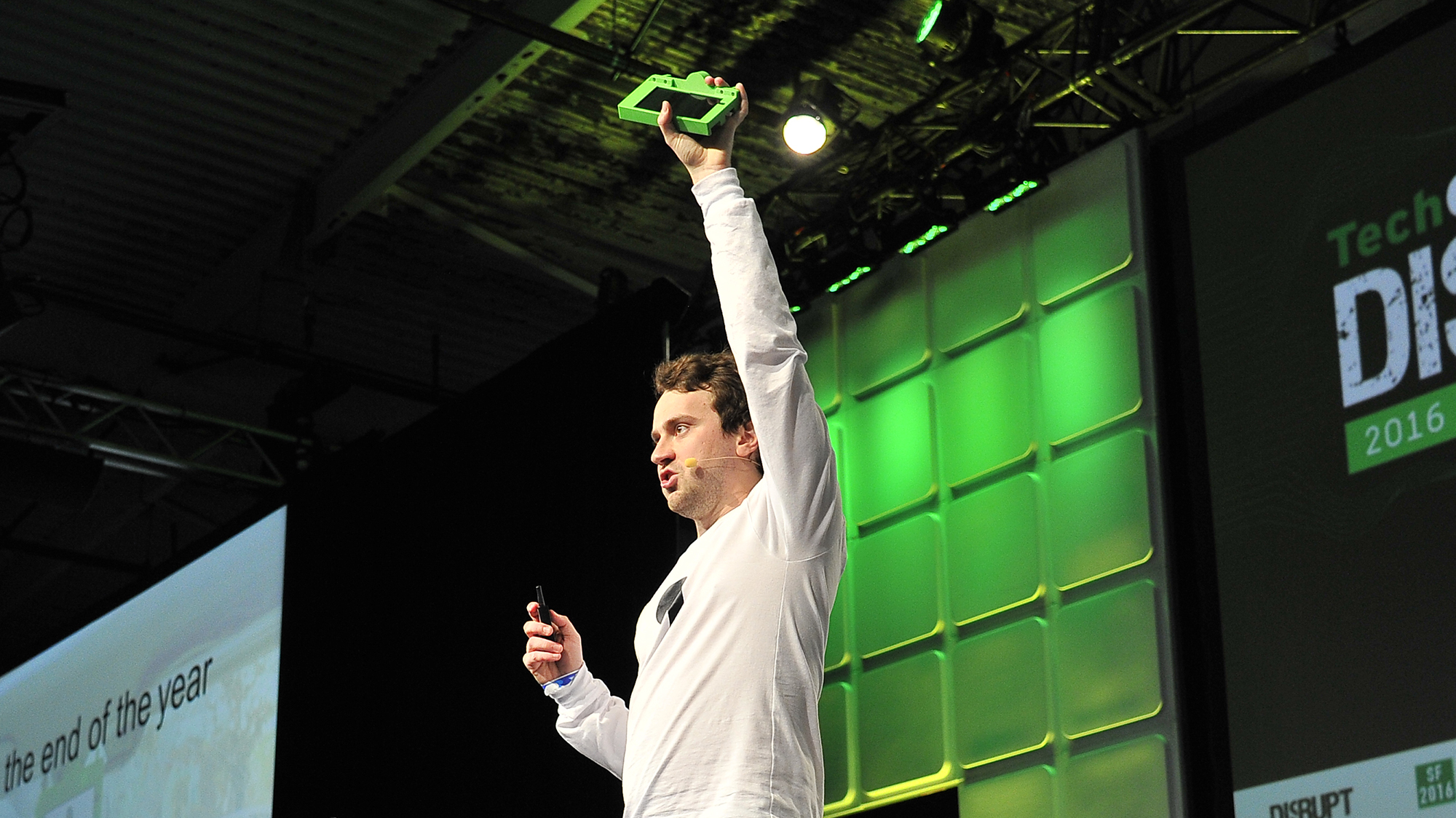 Comma.ai founder George Hotz shows off his autonomous car kit at a TechCrunch event earlier this year.