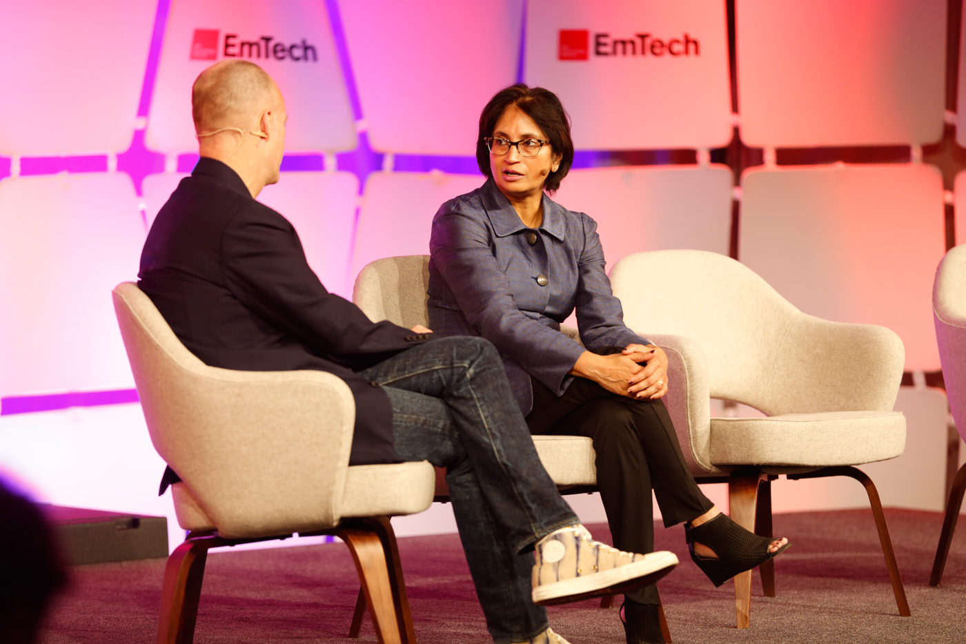 Padmasree Warrior speaking with Jason Pontin at EmTech MIT 2016.