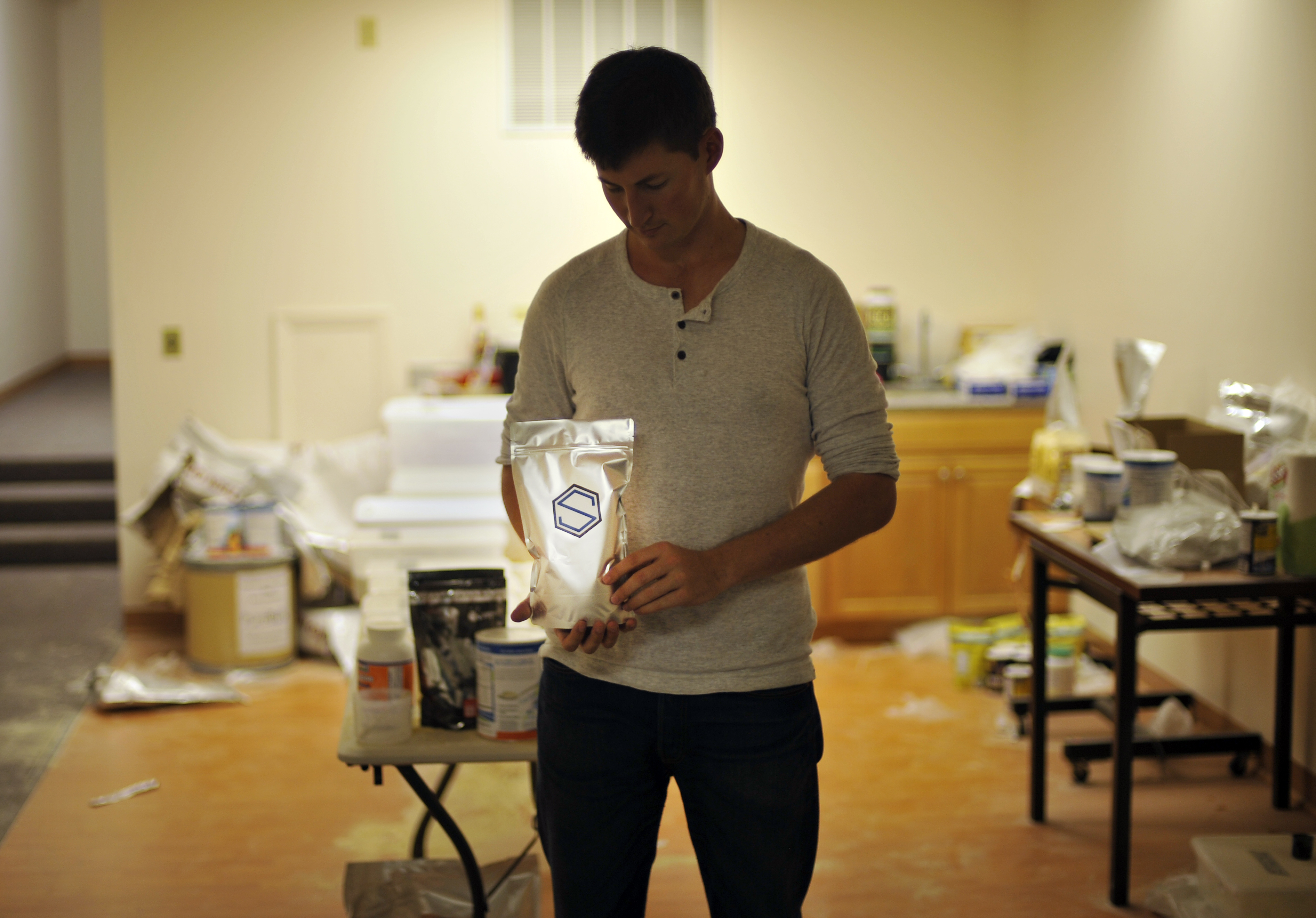 Soylent CEO Rob Rhinehart at his warehouse in Oakland, California, in 2013.