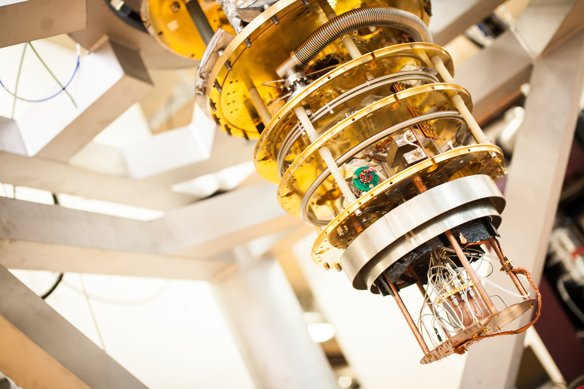 Researchers at TU Delft in the Netherlands use equipment like this to test quantum computing devices at supercool temperatures, in a collaboration with chip maker Intel.