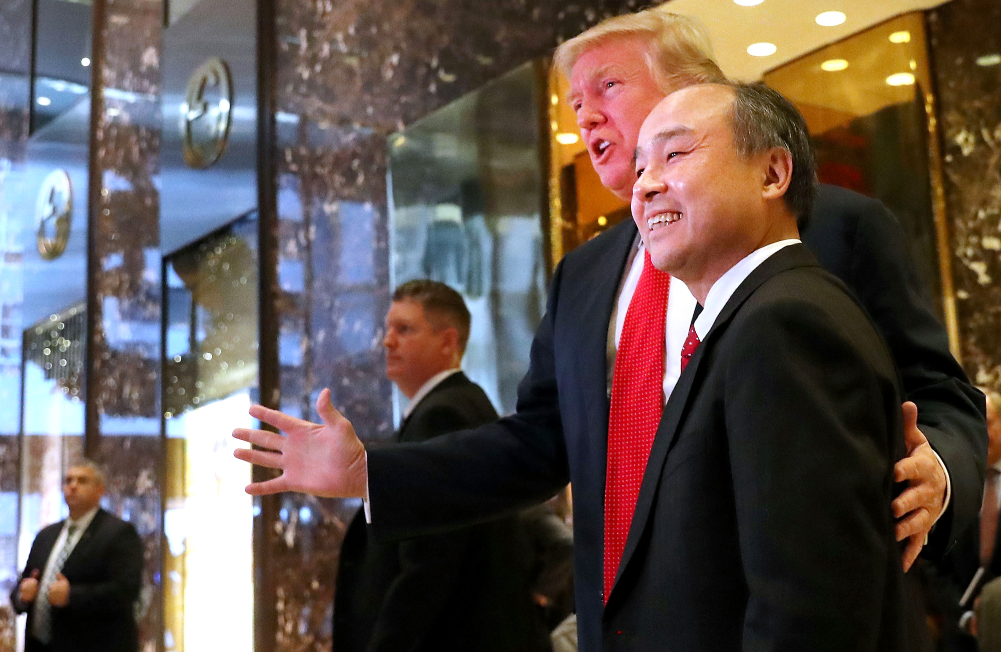 The president-elect hosted Softbank CEO Masayoshi Son at Trump Tower for the announcement that Son's company would make a huge investment in expanding its U.S. operations.
