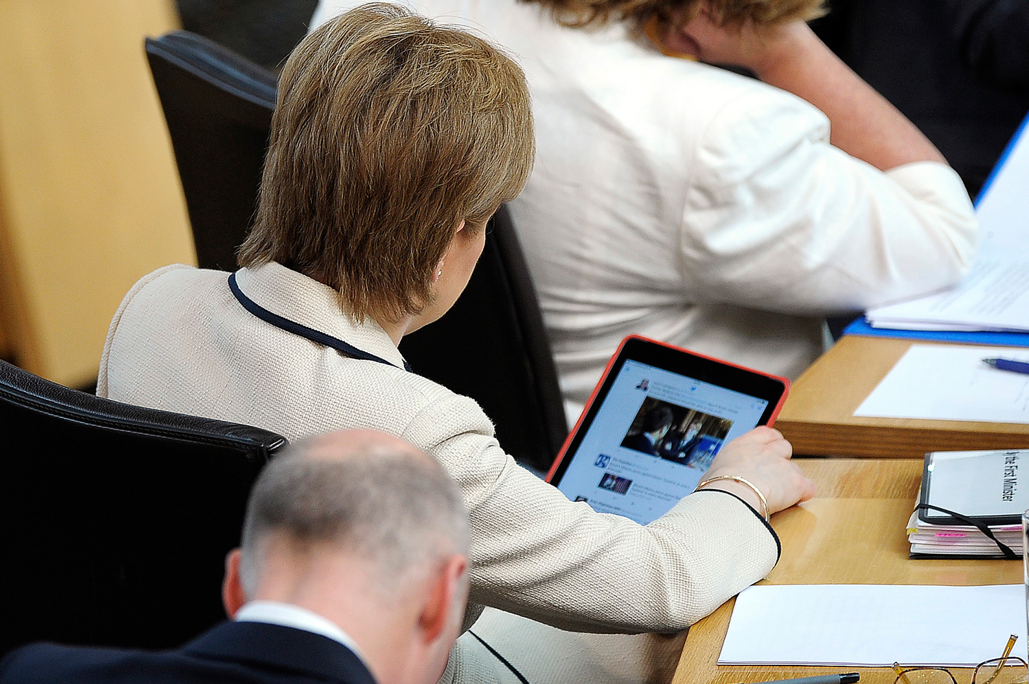 Nicola Sturgeon, the leader of the Scottish government, checks her Twitter feed during a June 28 parliamentary debate on the Brexit vote's implications for Scotland.