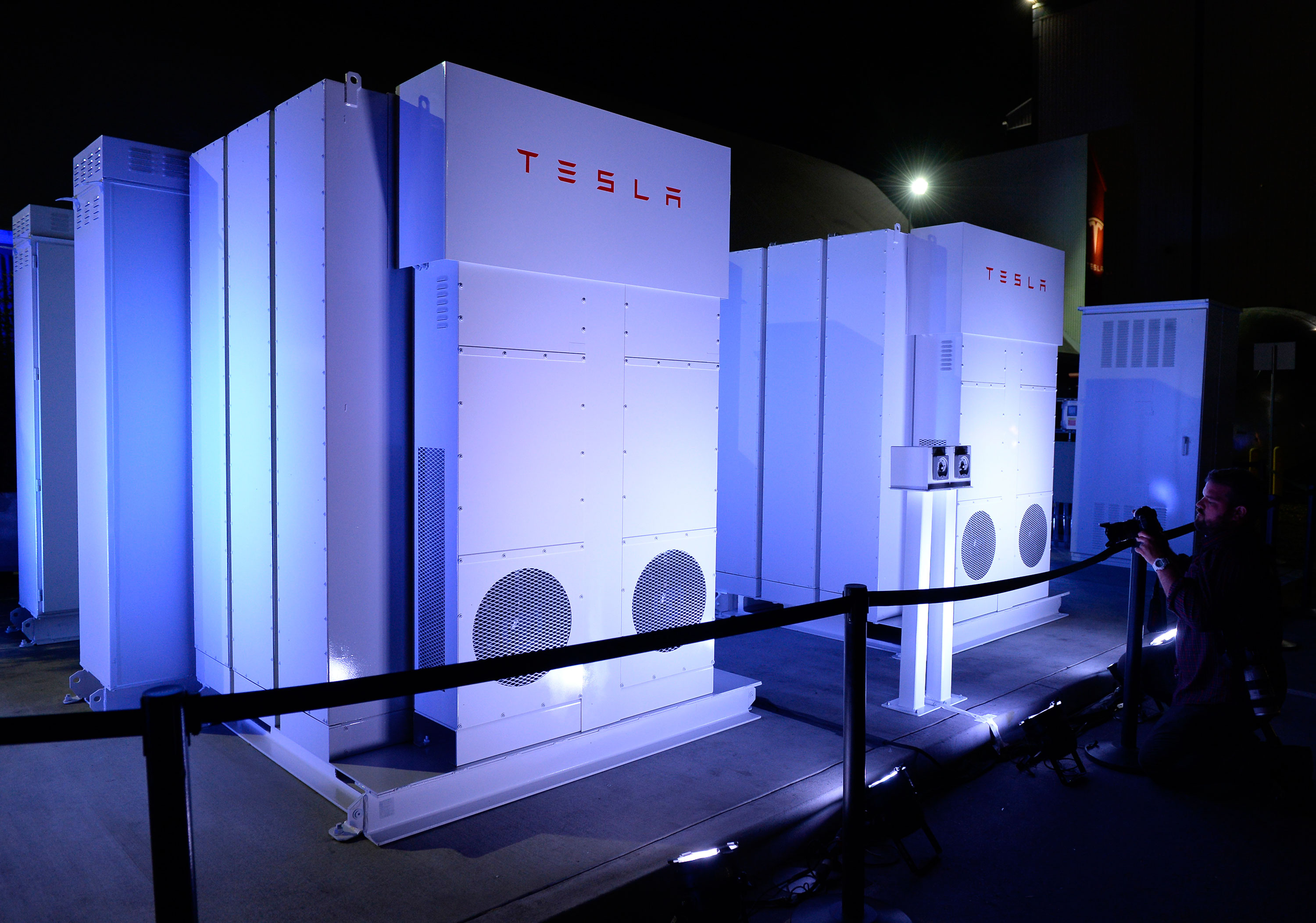 Tesla's grid-scale battery product, the Powerpack.