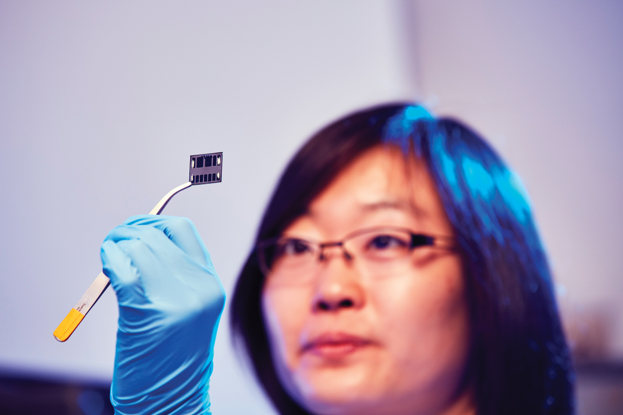A polymer solar cell printed on glass.