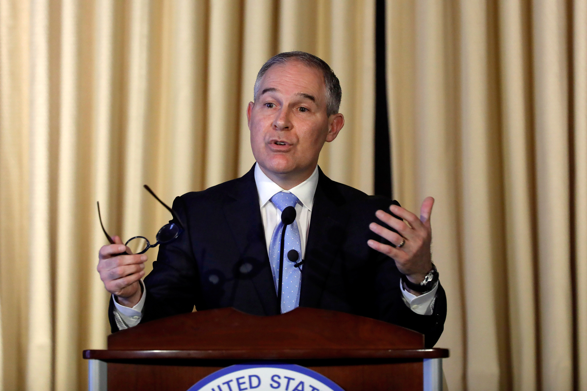 Scott Pruitt addresses Environmental Protection Agency staff earlier this month.