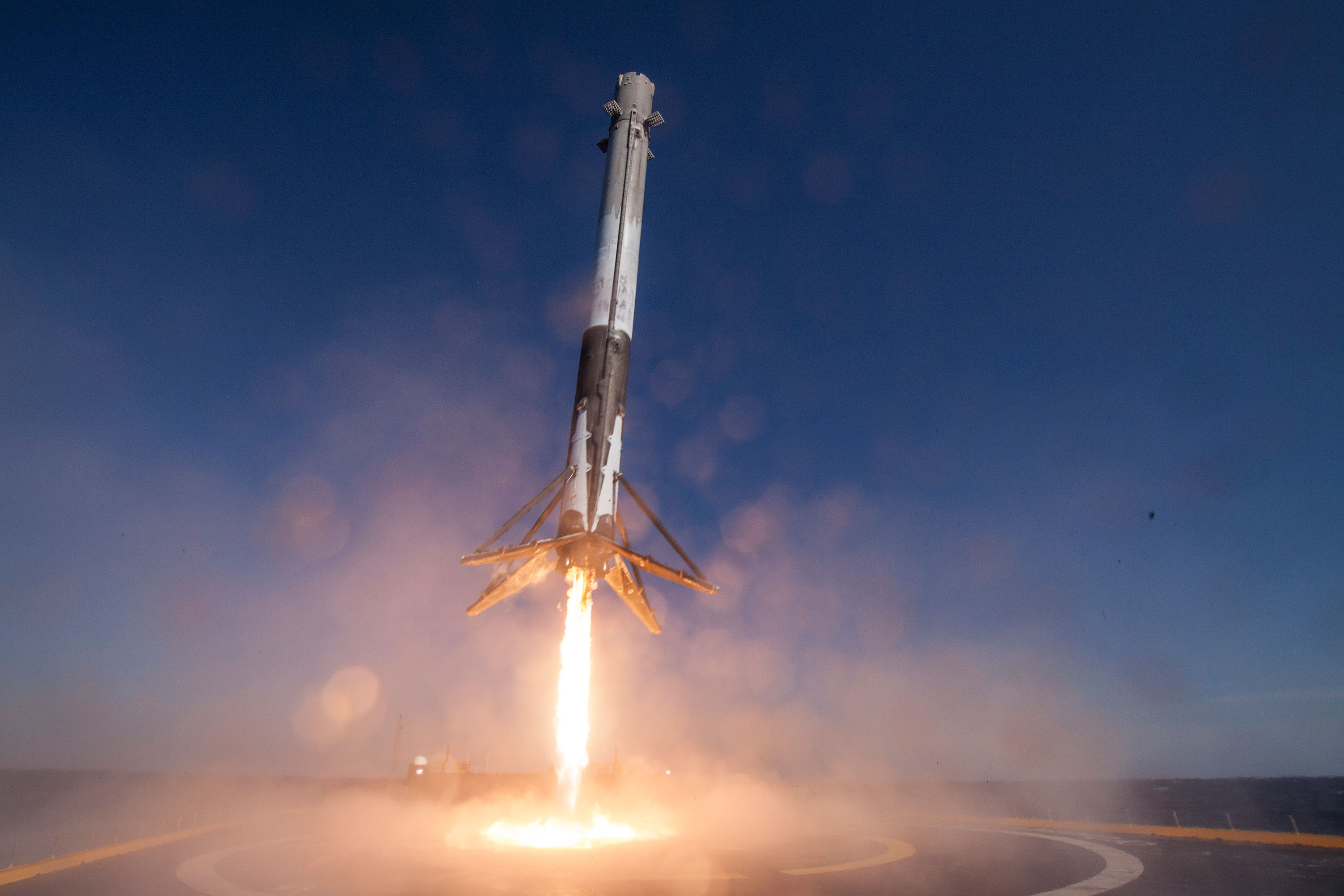 A SpaceX Falcon 9 rocket makes a successful landing here on Earth.