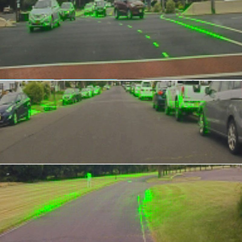 Nvidia's neural network software highlights the areas it's focusing on as it makes driving decisions.