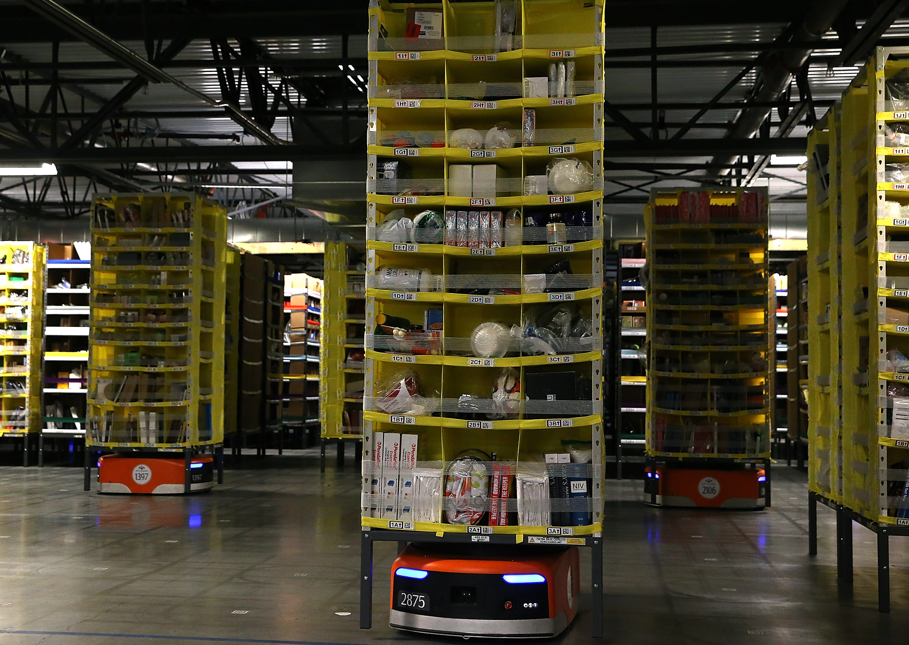Amazon purchased Kiva, which makes warehouse robots, to help run its fulfillment centers.