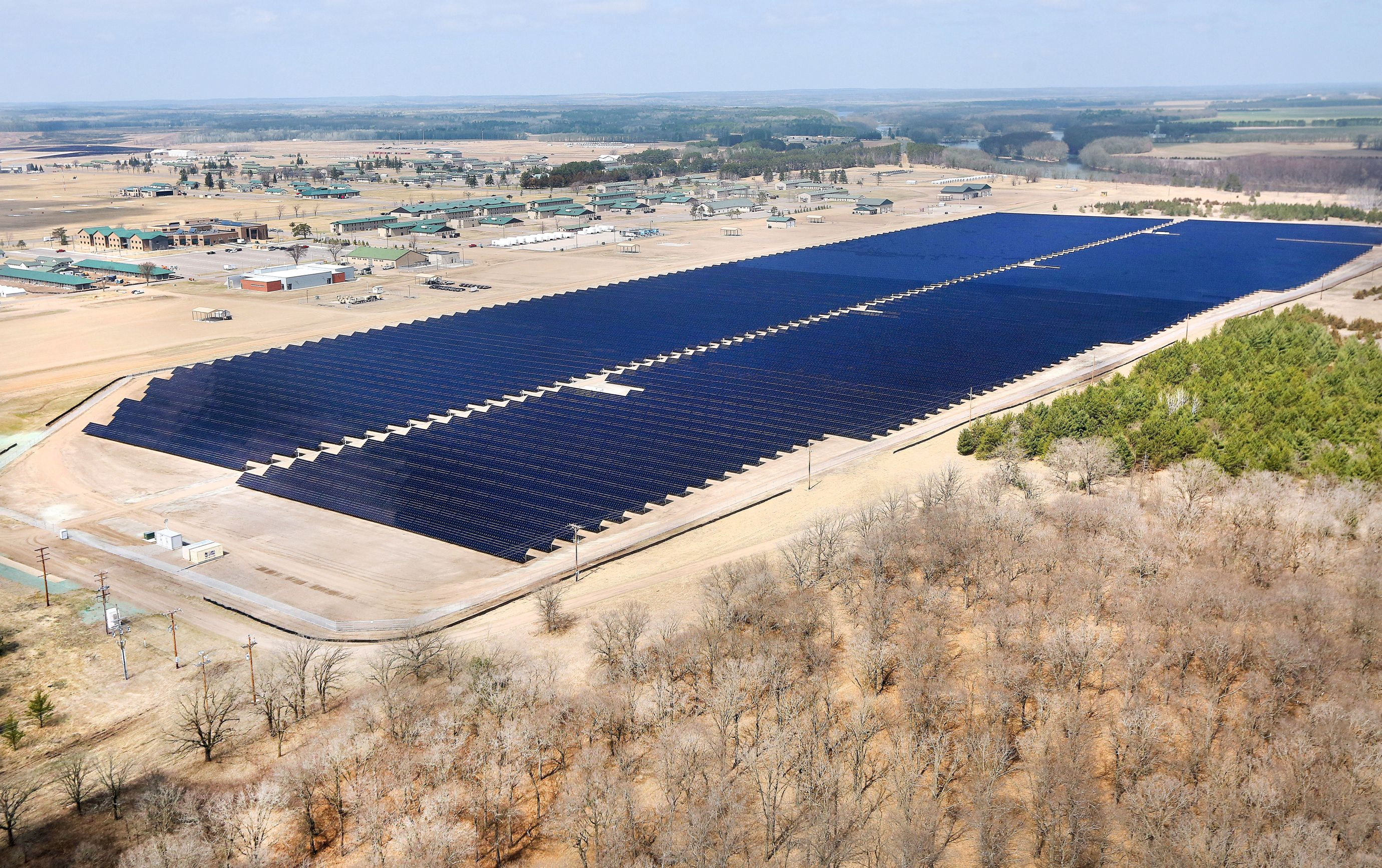 A 60-acre solar farm in Camp Ripley, a National Guard base in Minnesota.