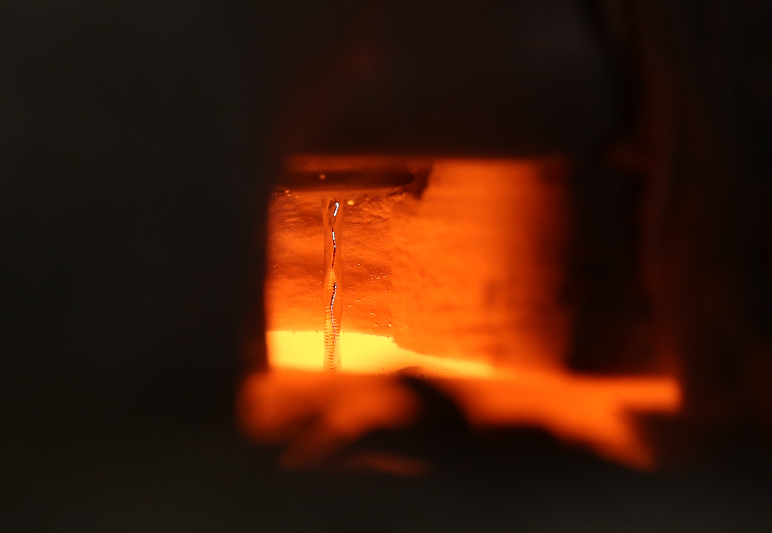 Molten tin flows at 1,400 ˚C in a Georgia Tech laboratory.