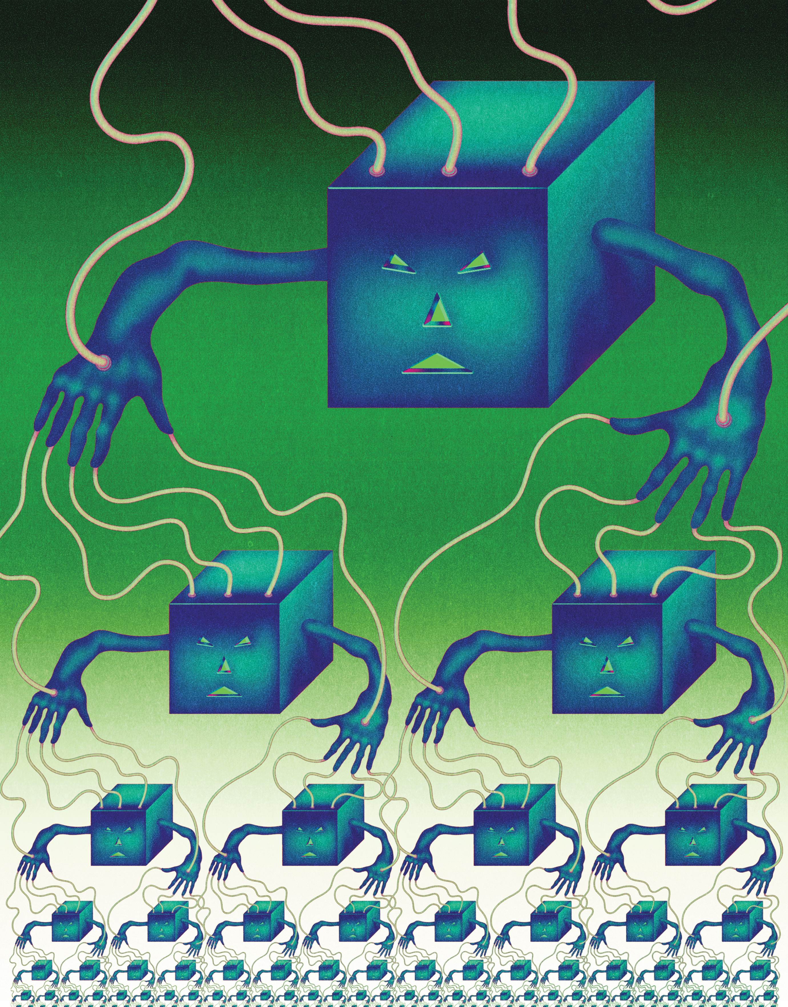 "<b><a href=""https://www.technologyreview.com/s/603500/10-breakthrough-technologies-2017-botnets-of-things/"">Botnets of Things</a></b> <br> Illustration by Robert Beatty"