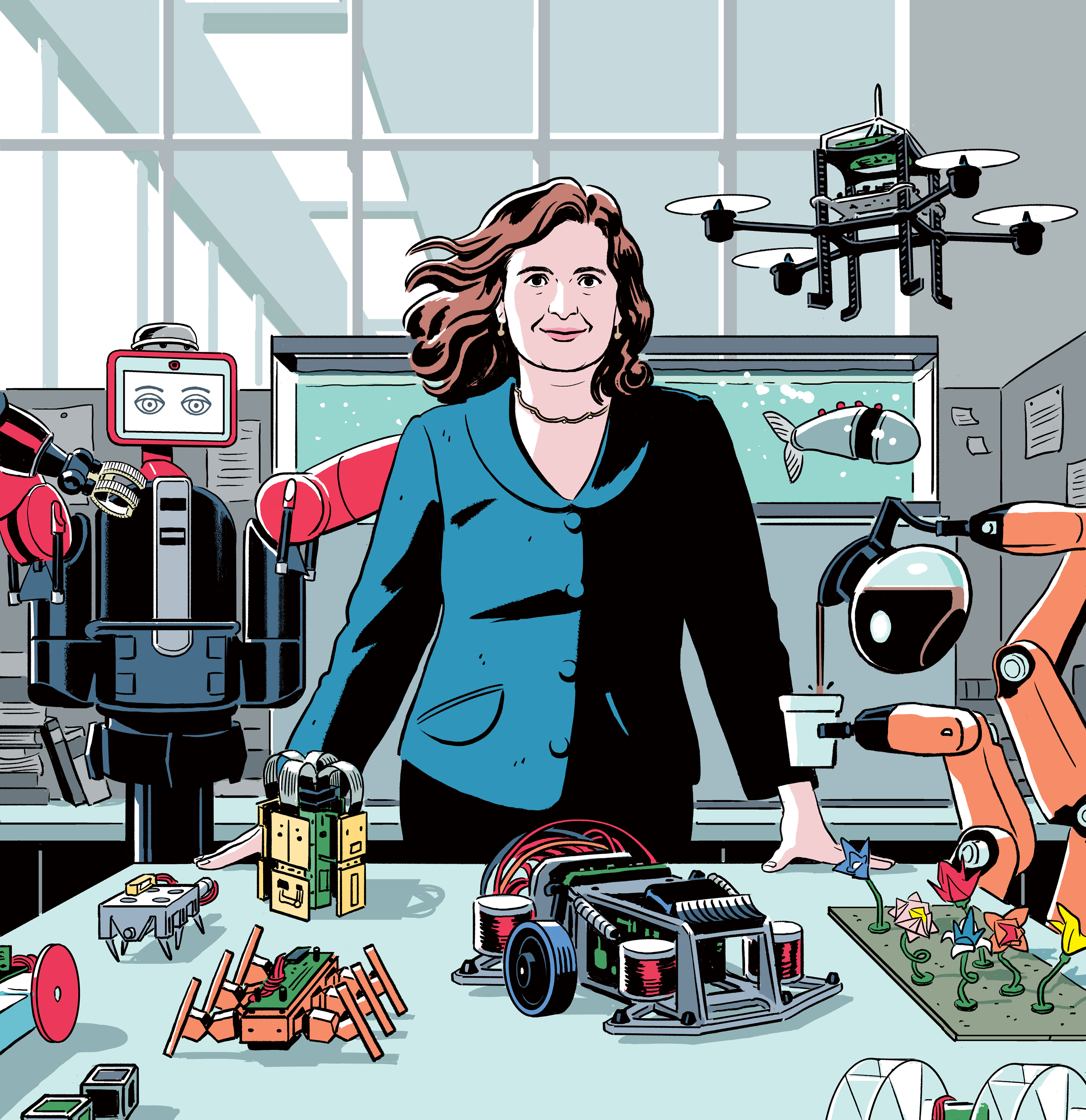 "<b><a href=""https://www.technologyreview.com/mit-news/2017/11/"">Daniela Rus: Building Tomorrow's Robots</a></b> <br> Illustration by R. Kikuo Johnson"