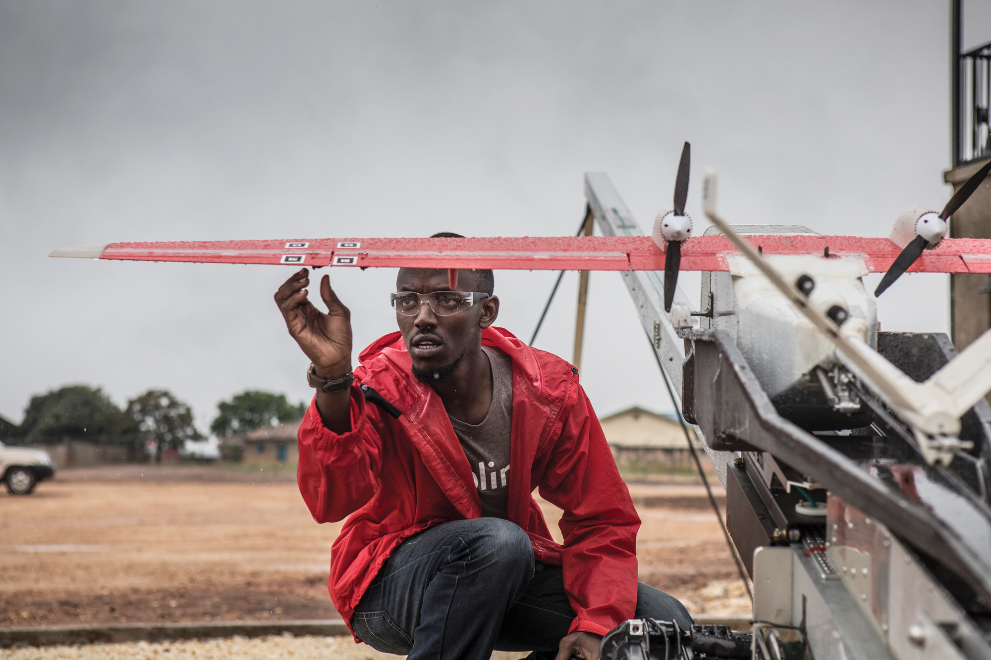 """<b><a href=""""https://www.technologyreview.com/s/608034/blood-from-the-sky-ziplines-ambitious-medical-drone-delivery-in-africa/"""" target=""""_blank"""">Zipline's Ambitious Medical Drone Delivery in Africa</a></b> <br> Photographs by Jason Florio"""