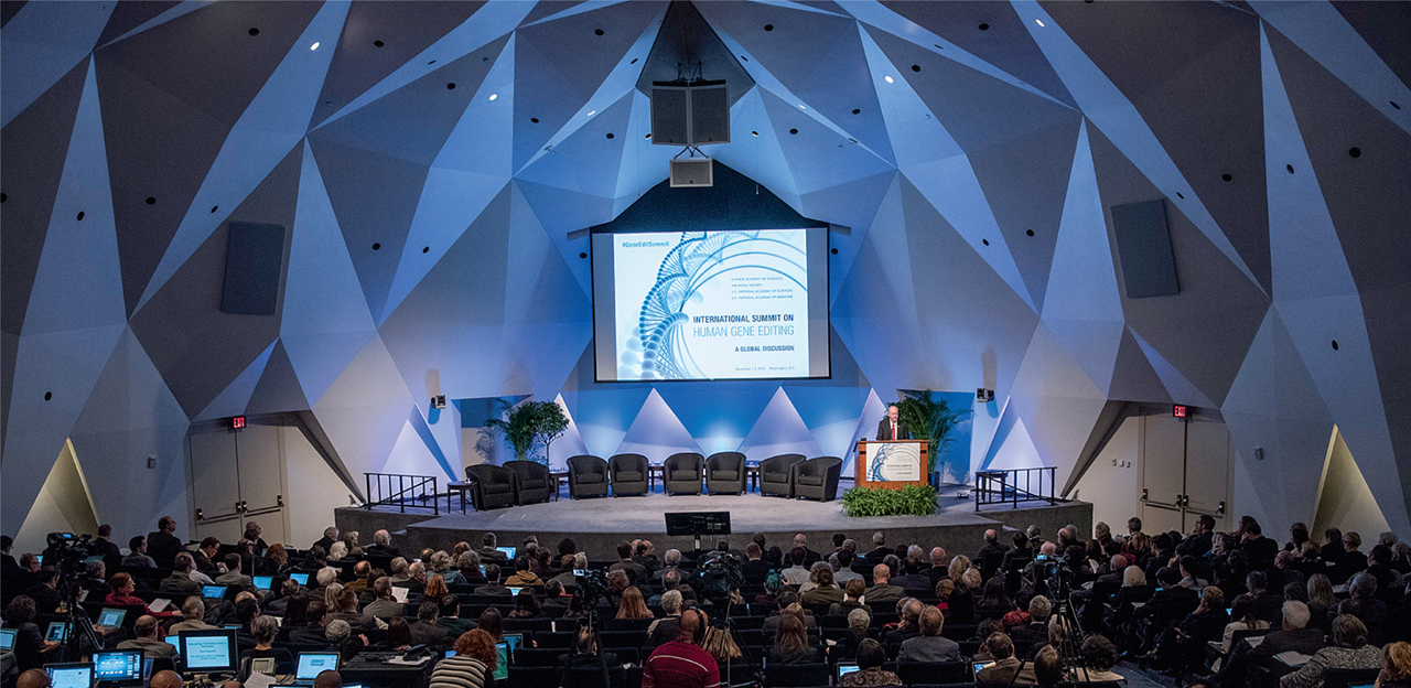 The first International Summit on Human Gene Editing, held in December 2015 in Washington, DC. The second is taking place in Hong Kong on November 27-29, 2018.