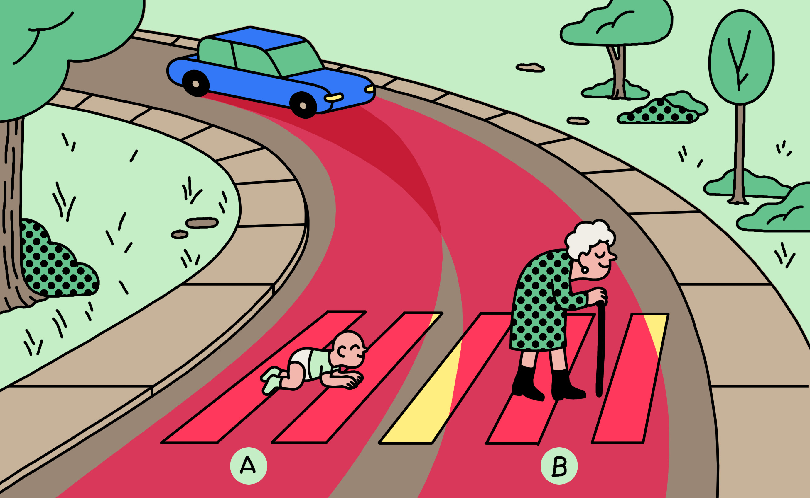"<b><a href=""https://www.technologyreview.com/s/612341/a-global-ethics-study-aims-to-help-ai-solve-the-self-driving-trolley-problem/""_blank"">Should a self-driving car kill the baby or the grandma? Depends on where you're from.</a></b> <br> Illustration by Simon Landrein"