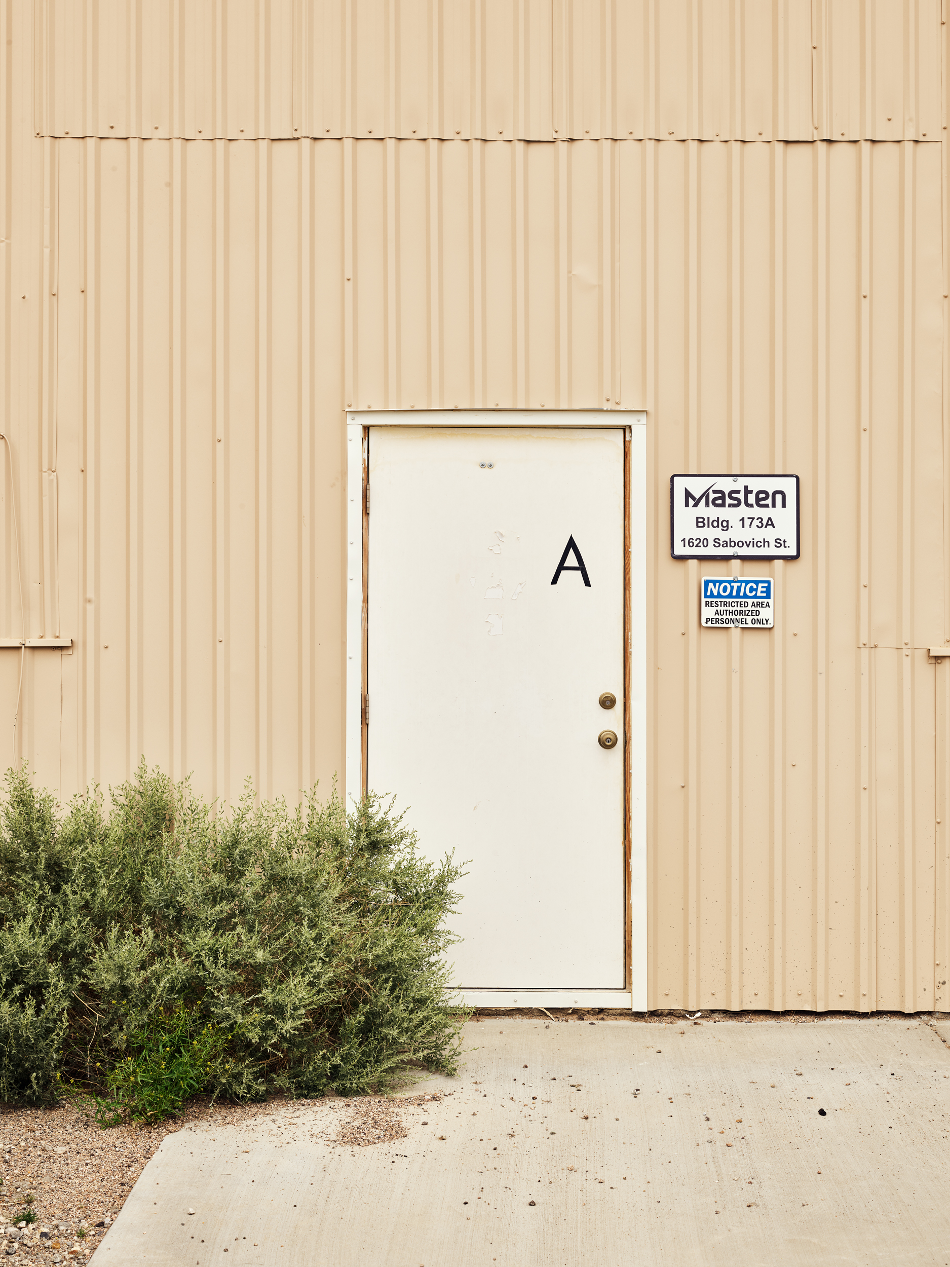 The entrance to Masten's aviary where its rockets are stored