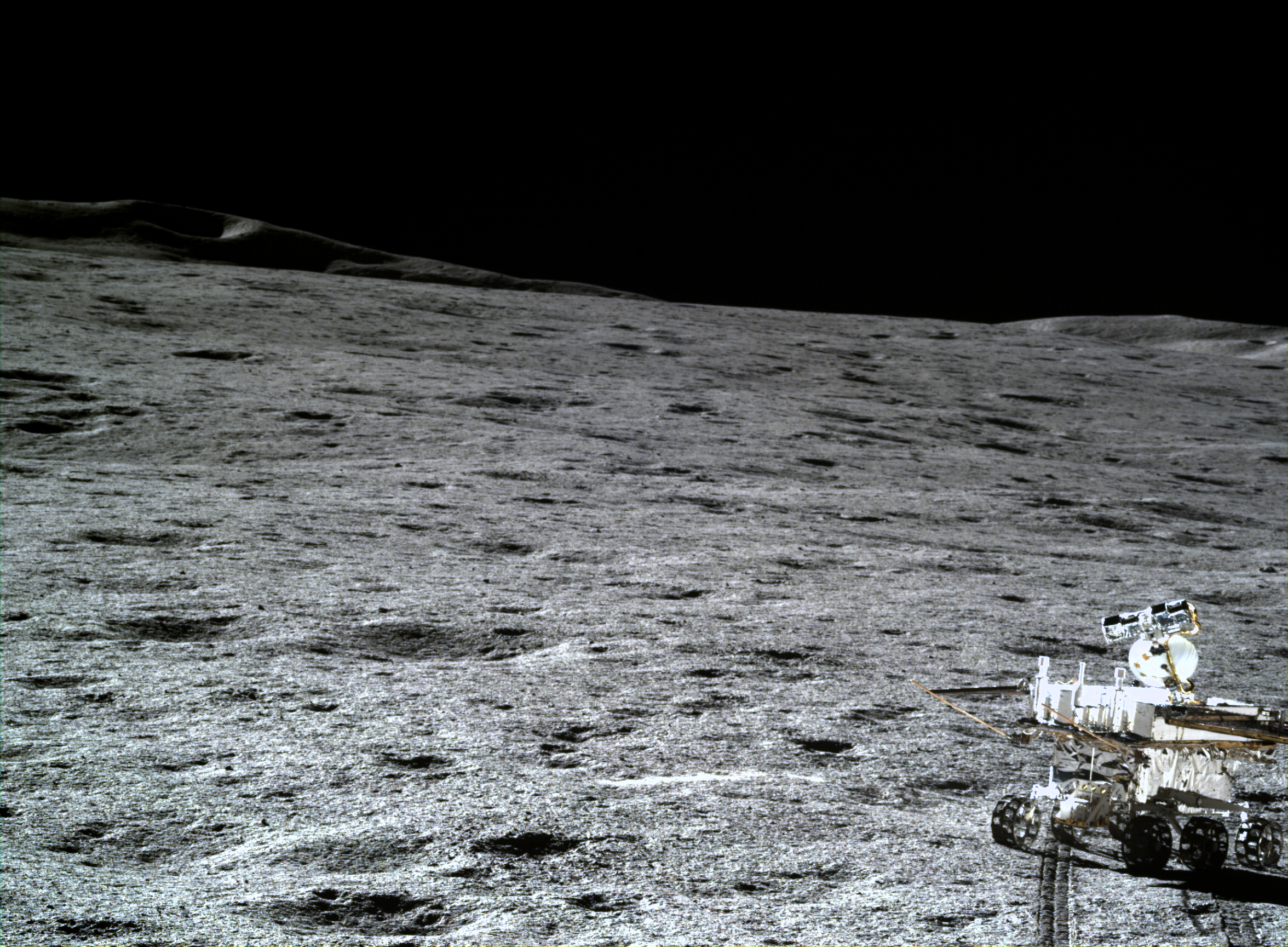 A view of the lunar landscape and the Yutu-2 rover, taken by the Chang'e 4 lander.