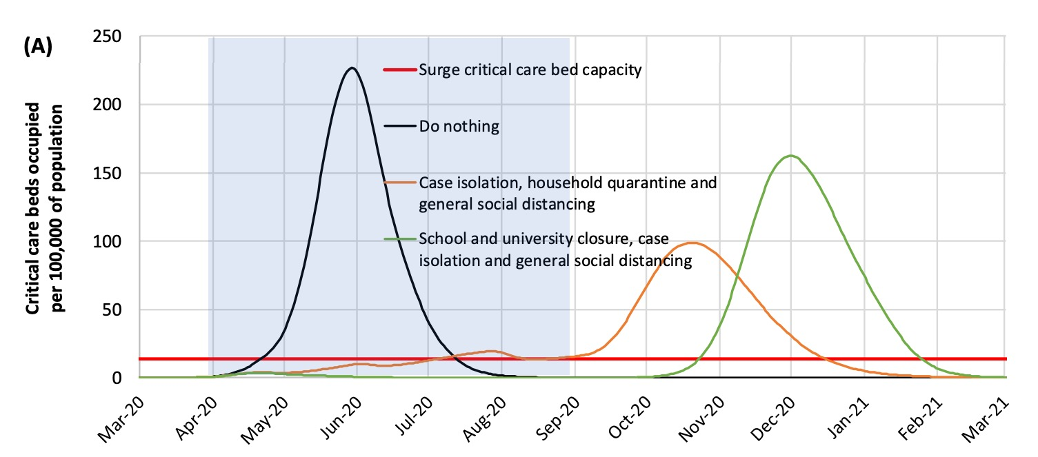 If full social distancing and other measures are imposed for five months, then lifted, the pandemic comes back.