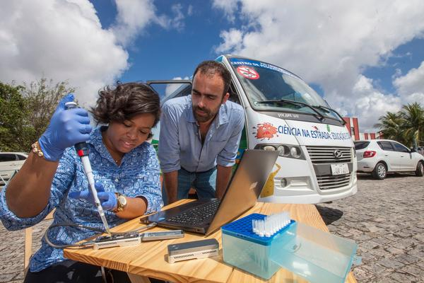 Jaqueline Goes de Jesus and Nuno Faria during a mobile study of the Zika virus in 2017. The researchers are now sequencing the new coronavirus.