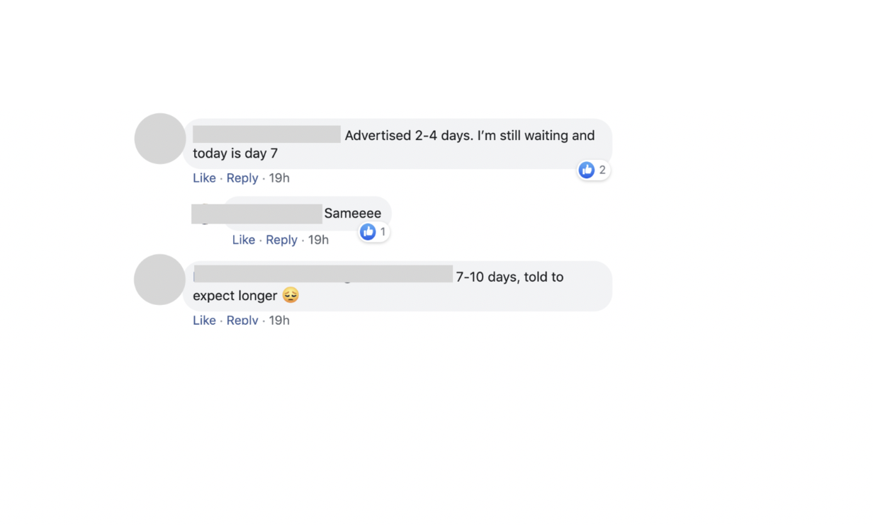 Comments from Dr. Jason Bae's Facebook post in a private group for physicians asking how long covid-19 tests results were taking.